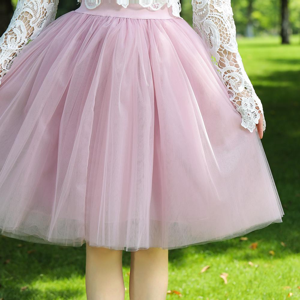 7 Layers Midi A Line Tutu Tulle Skirt High Waist Pleated Skater Skirts Womens Vintage Lolita Ball Gown Summer 19 saias jupe