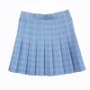 A-line Plaid pleated skirt Uniform high waist Skirt classical Gray&khaki&blue&pink lattice