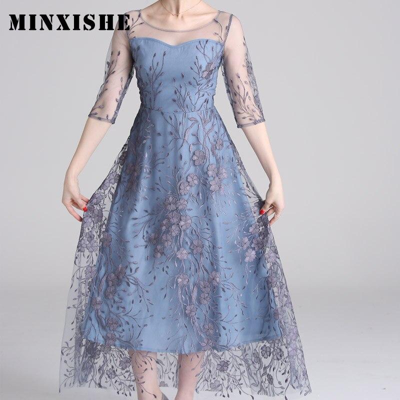 Spring Mesh Patchwork Embroidery Women Dress O Neck Half Sleeve Maxi High Quality Elegant Luxury Dresses Ladies robe longue