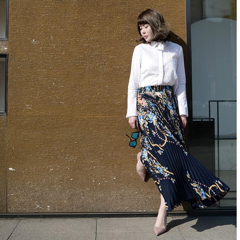 Long Princess Women Chiffon Pleated Skirt Vintage High Waist Big Bottom Skirts Womens Saia Summer Style Jupe Femme Skirt 2