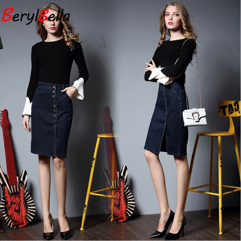 BerylBella Spring Women Skirt Casual Summer Style Ladies Skirts Blue Plsus Size S-6XL Stretch Denim Skirt Femininas Jeans Skirt 1