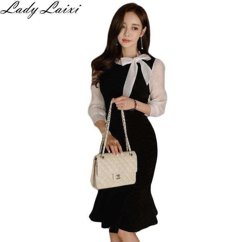 Half Sleeve Color Block Mermaid Sheath Dress Black White Patchwork Women Sexy Bodycon Vintage Elegant Party Dress 1