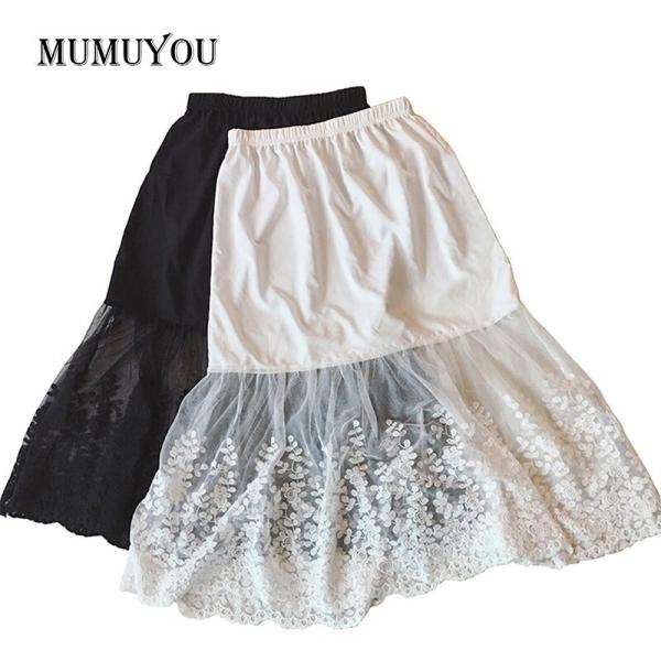 Women Lady Lace Mesh Slip Skirt Knee Length A-Line Floral Underskirt Petticoat Fashion Summer New White Black 904-733