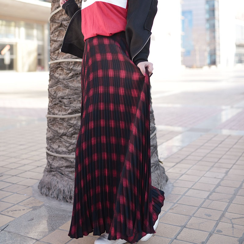 Womens Vintage Elastic Waist Women Long Pleated Skirts High Waist Ladies Skirts Length Women Maxi Skirts Faldas Saia 17 2