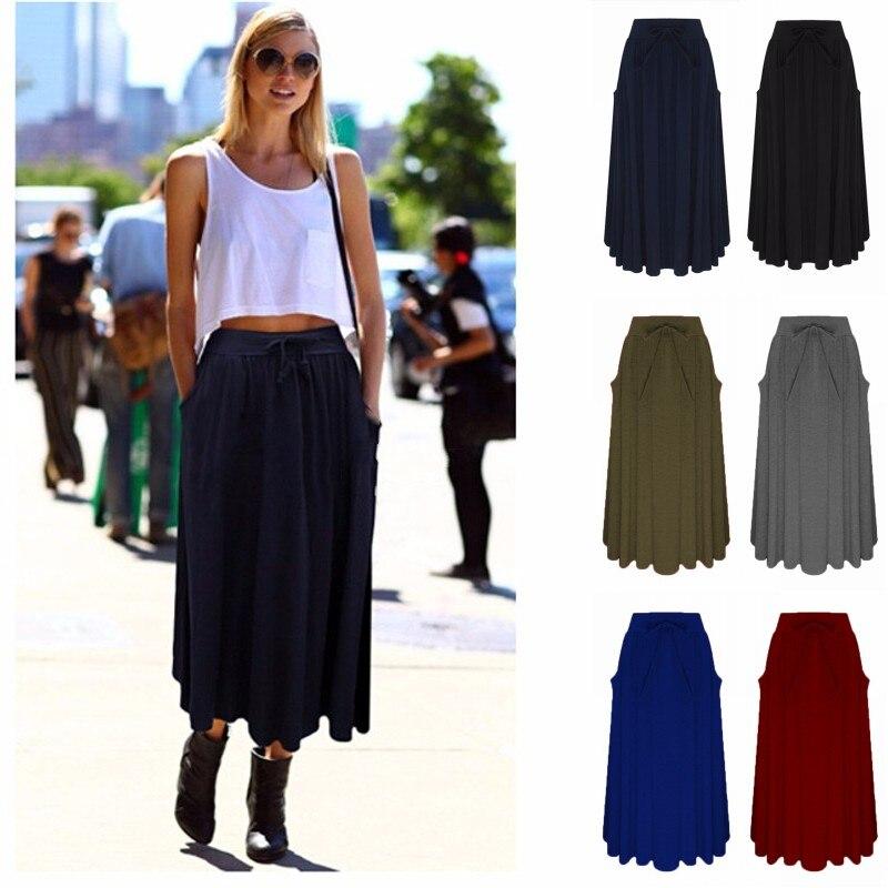 ZANZEA Women Long Skirt 19 Elegants Elastic High Waist Pockets Pleated Skirts Casual Solid Loose Mid-calf Skirts Plus Size 2XL 2