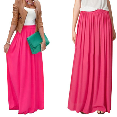 SK71 Long Skirt Elegant Style Women Pastel Jupe Pleated Chiffon Maxi Skirts Floor-Length Saia Vintage Saias Womens Solid Faldas 1