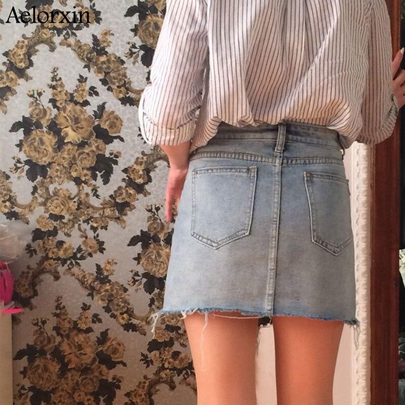Summer Pencil Skirt 19 High Waist Washed Women Skirts Irregular Edges Denim Jupe All Match Mini Saia Plus Size Women's Faldas 2
