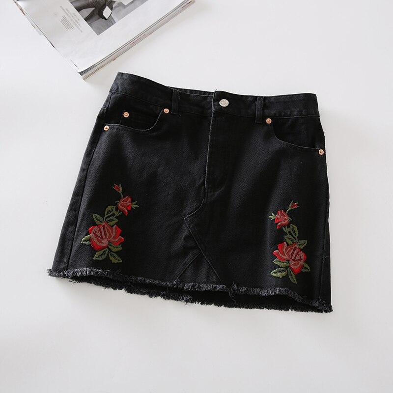 17 Summer Skirt for Womens High Waist Short Midi Skirt Rose Embroidery Mini Casual Denim Blue Black