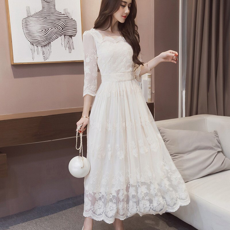 Summer Vintage Floral Print Long Dress O-Neck Casual Pleated Half Sleeve Lace Dress Women Party White Dress 2
