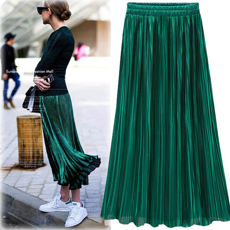 Silver Gold Pleated Skirt Womens Vintage High Waist Skirt 18 Winter Long Warm Skirts New Fashion Metallic Skirt Female 1