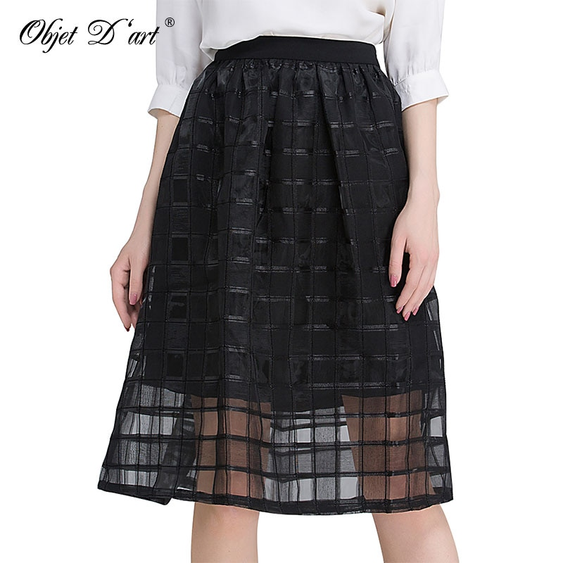 Classic Women Mesh Skirts Worsted Plaid Patchwork Skirt Elegant High Waist Organza Gauze Tulle Black Striped Casual A-Line Skirt 1