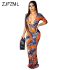 Geometric Pattern Sexy Bohemian Dress Women Deep V Neck Half Sleeve Floor-Length Dress Vintage High Waist Slim Fit Beach Dress