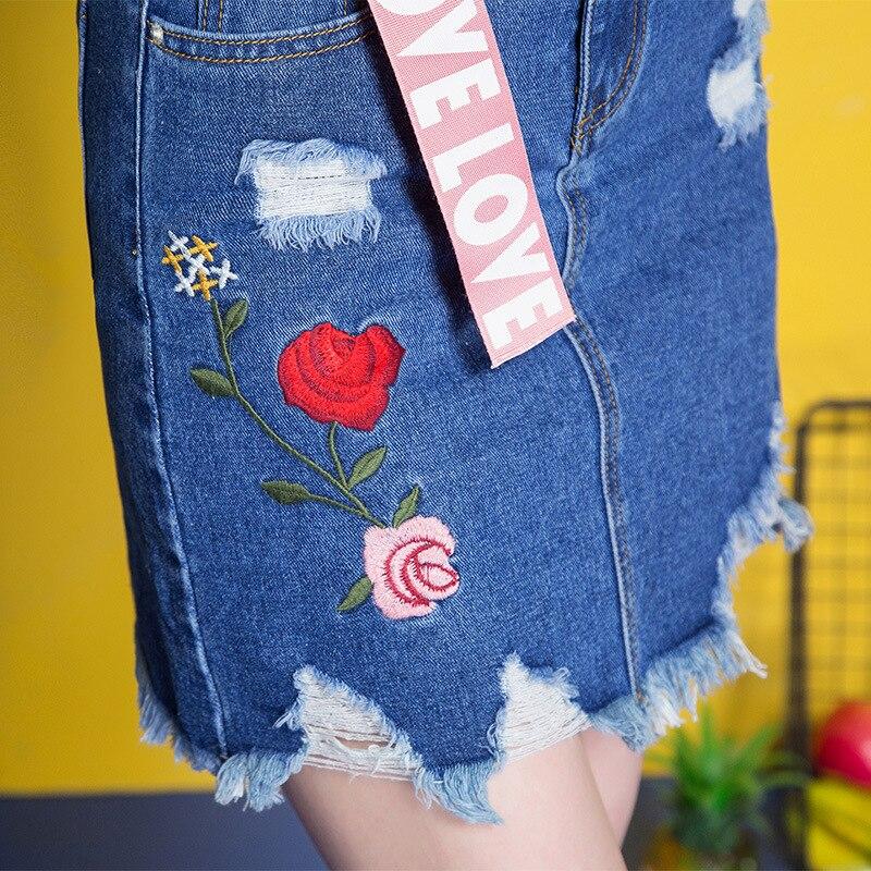 3XL Denim Skirt 17 Women Spring Summer Slim Embroidery Mini Skirt Jeans Hole Womens High Waist Office Pencil Denim Skirts CS17 2