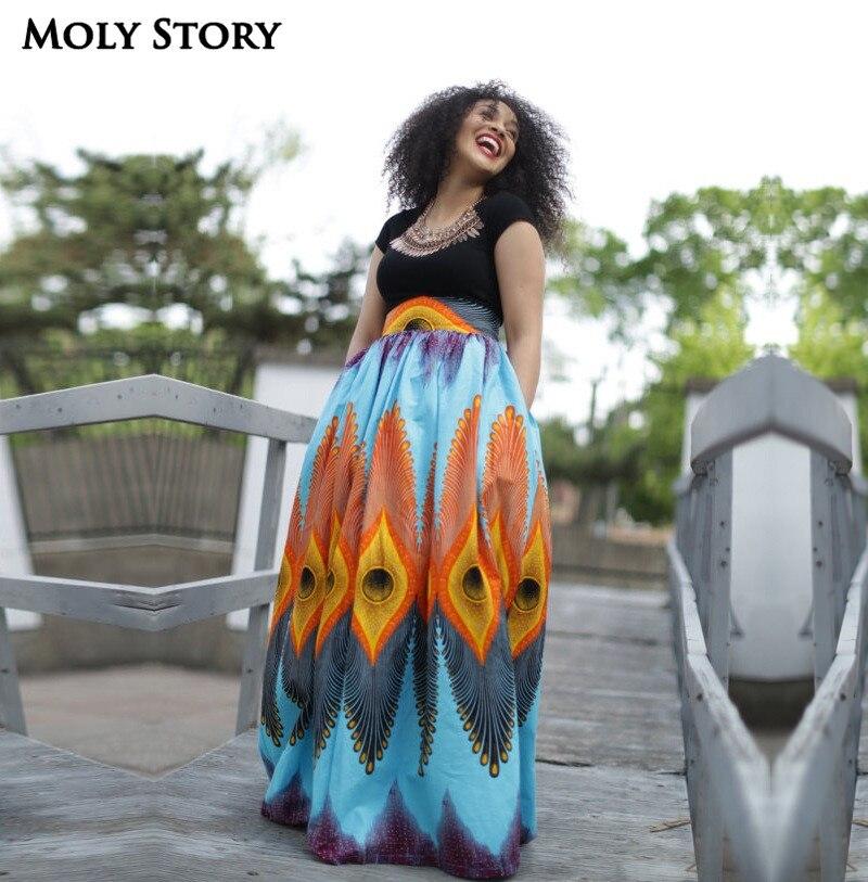 Elegant Pleated Long Skirt Beach Holiday Ethnic Peacock Print Skirt High Waist Maxi Skirts Jupe Longue Femme 2