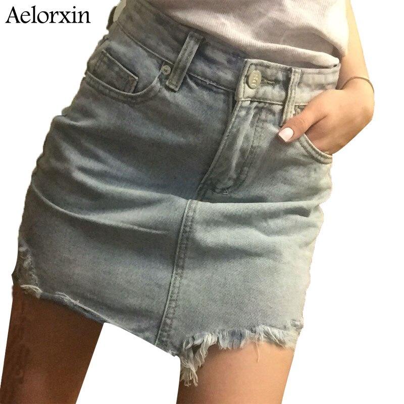 Summer Pencil Skirt 19 High Waist Washed Women Skirts Irregular Edges Denim Jupe All Match Mini Saia Plus Size Women's Faldas 3
