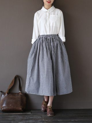 Girls Lady Fashion Vintage Linen Cotton Skirts Casual Plaid Long Skirts A Linen Elastic loose Cotton Mori Girl Kawaii Skirts