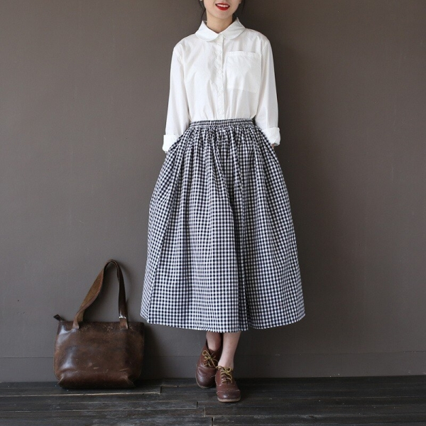 Girls Lady Fashion Vintage Linen Cotton Skirts Casual Plaid Long Skirts A Linen Elastic loose Cotton Mori Girl Kawaii Skirts