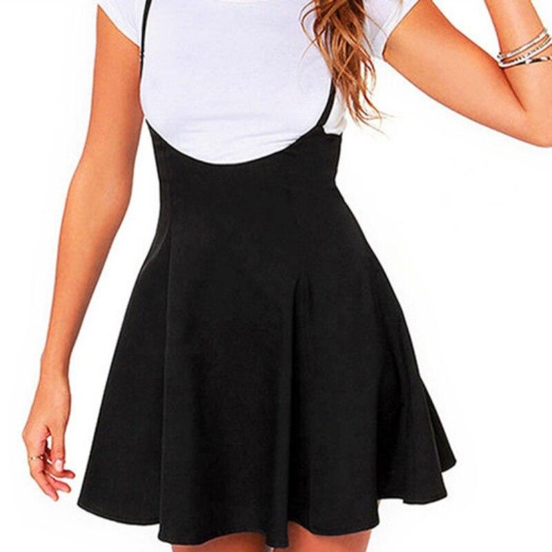Women Black Skirt with Shoulder Straps Pleated Skirt Suspender Skirts Patchwork Color Female Cozy High Waist Mini School Skirts 2