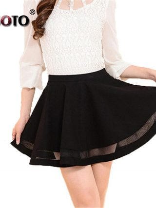 ALSOTO Summer Women Skirt Sexy Saia Short Skater Skirts for Ladies Black Pleated Tutu School Skirt Fashion Faldas Jupe Ball Gown