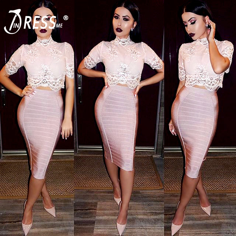 INDRESSME 19 New Sexy Pencil Bodycon Skirt Striped Knee-Length Bandage Skirts Wear To Work Summer Wholesale 2