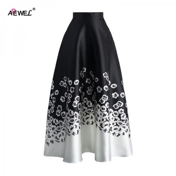 ADEWEL Summer Vintage High Waist Women A Line Skirts Elegant Floral Ptinted Casual Skirt Fashion Color Block Maxi Skirt Black