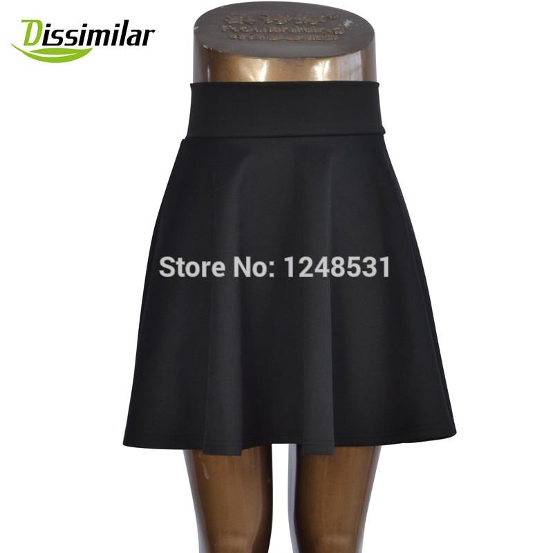 free shipping Women Flared Skater Skirt Basic Solid Color Mini Skirt Above Knee Versatile Stretchy Pleated Casual Skirt 5 sizes 2