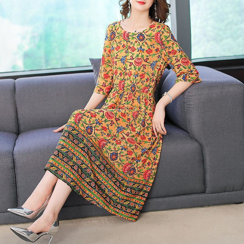 Imitate Real Silk Dress Sweet Women Clothes New Summer Fashion Half Sleeved Print Dresses Lady's Casual Party Dress