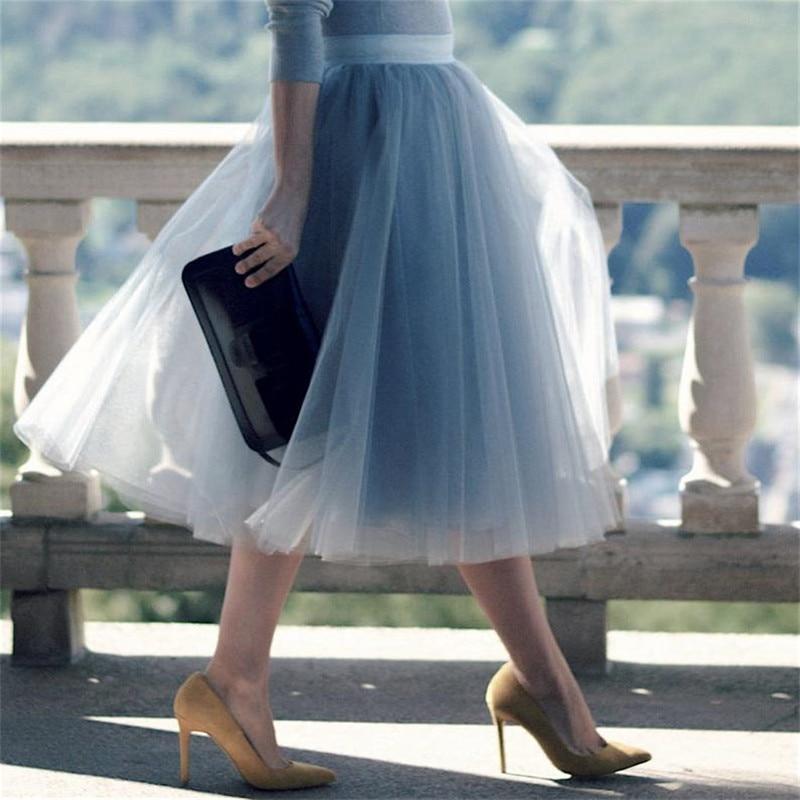 5 Layers 60cm Princess Midi Tulle Skirt Pleated Dance Tutu Skirts Womens Lolita Petticoat Jupe Saia faldas Party Puffy Skirts 1