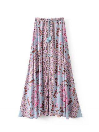 19 Floral Print Summer Women's Skirt Bohemian Elastic Waist Buttons Tassel Belt Long Maxi skirts Brand Clothing Female Saia