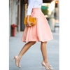 New Vintage Women Casual Skirt Stretch High Waist Skater Pleated Swing Fashion Skirt