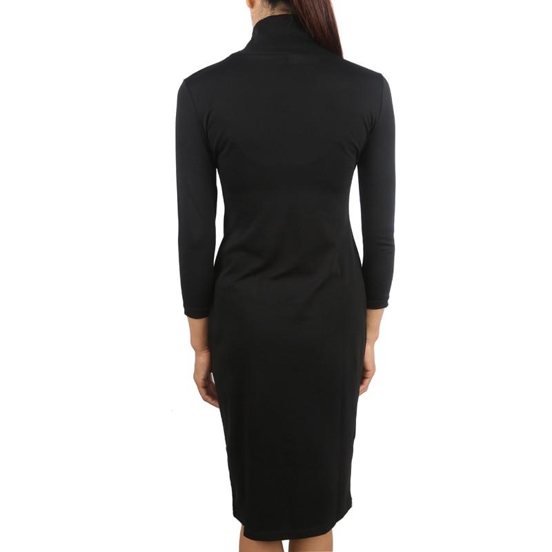 LERFEY Women Autumn Black Dress Half Sleeve Dresses Sheath Office Bussiness Bodycon Turtleneck Dress New Clothings 2