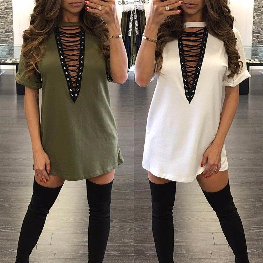 3xl 18 Summer Fashion Women Dress Half Sleeve Sexy Deep V-Neck Criss Bandage Party Dresses Mini T Shirts Dress Plus Size 2