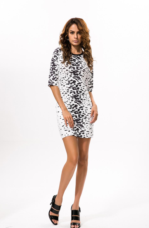 Casual Half Sleeve African Dresses for Women Fashion Print Round-neck Elegant Dress 2