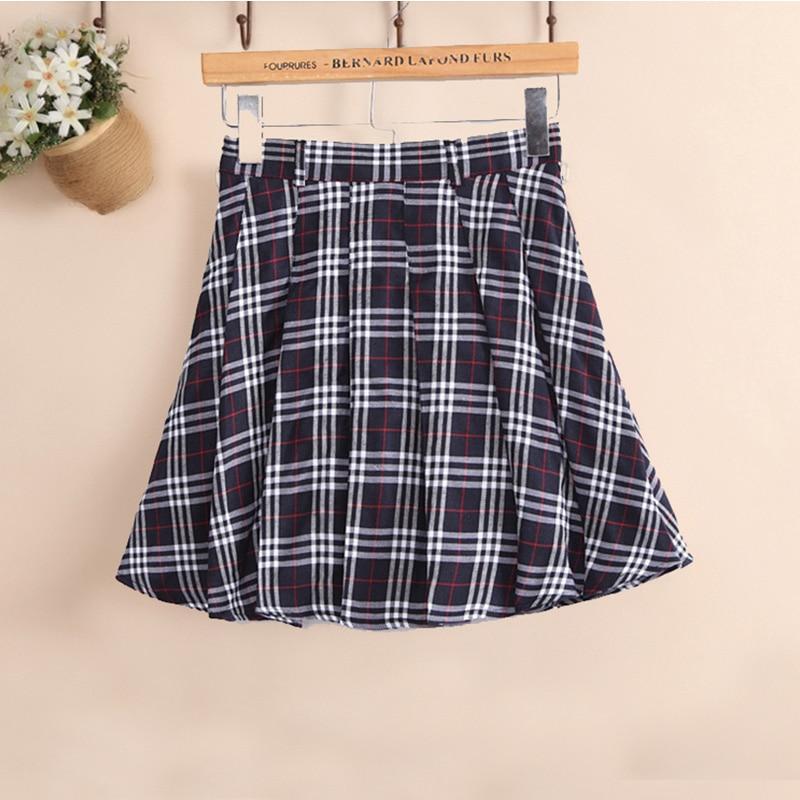 6 colors Plaid uniform skirts Korea Fashion Preppy Style Pleated Skirt Women Red Plaid Skirt School Uniform Girls Short Skirts 2
