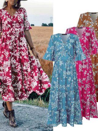 ZANZEA Women Midi Dress Elegant Ladies Half Sleeve Floral Print Dresses Bohemian Mid Calf Vestidos Party Evening Summer Sundress