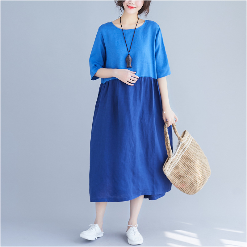 Johnature 19 Summer Women Clothing New Loose Patchwrok Hit Color Casual Dresses Half Sleeve O-neck Pockets Women Dress 2