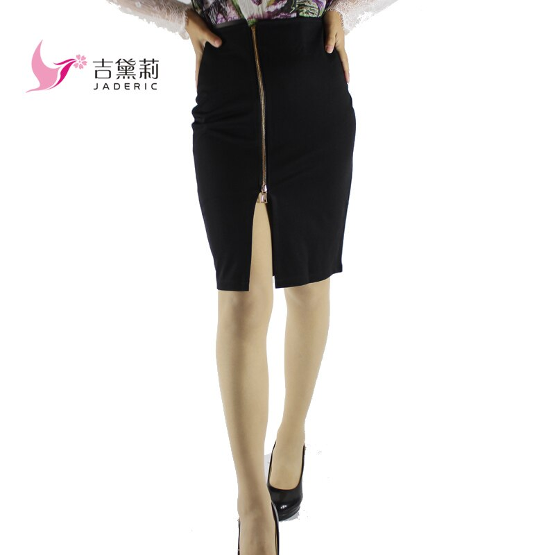 Jaderic 4XL Plus Size Women Pencil Skirts Autumn 18 Elegant High Waist Bodycon Skirt Korean Fashion Zipper Work Office Skirt 2