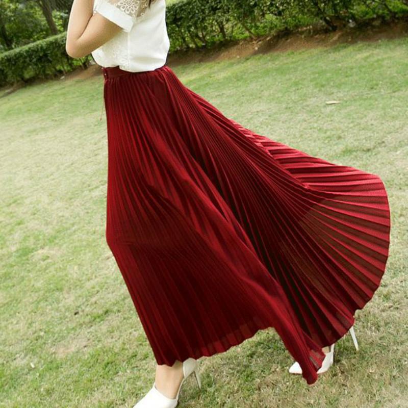 17 Summer New Fshion faldas Korean Style Big Swing Maxi Skirts Womens Summer jupe High Waist Adult Long Chiffon tulle skirt 1