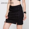 Jocoo Jolee Autumn Lace Up Leather Suede Pencil Skirt Winter 17 Cross High Waist Skirt Zipper Split Bodycon Short Skirts Women