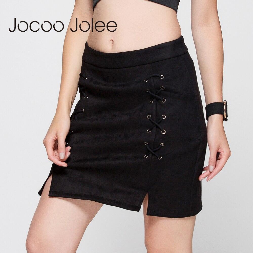 Jocoo Jolee Autumn Lace Up Leather Suede Pencil Skirt Winter 17 Cross High Waist Skirt Zipper Split Bodycon Short Skirts Women