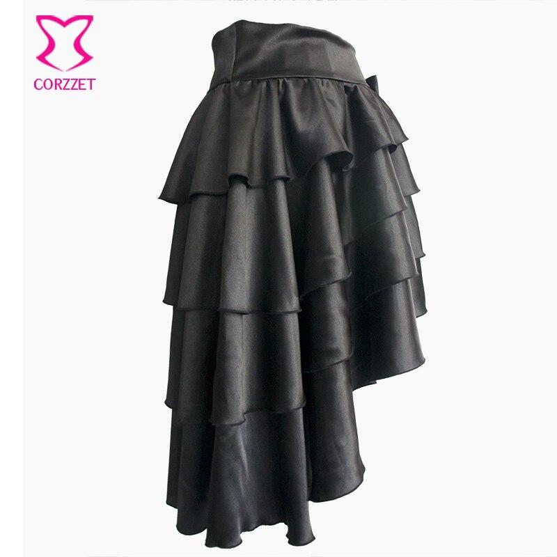 Black Ruffle Satin Tiered Asymmetical Saia Victorian Women Skirt Retro Steampunk Corset Skirt Sexy Ladies Skirts Gothic Clothing 2