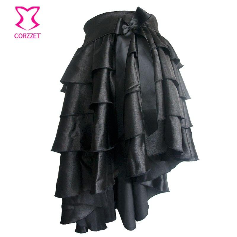 Black Ruffle Satin Tiered Asymmetical Saia Victorian Women Skirt Retro Steampunk Corset Skirt Sexy Ladies Skirts Gothic Clothing 1
