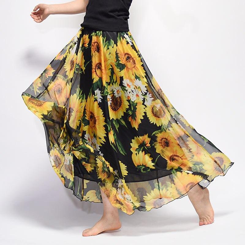 Uwback Women Chiffon Skirt Floral Floor Length Women Long Maxi Skirts Loose Boho Beach Skirt 19 New Summer Fashion Wear, EB129 2