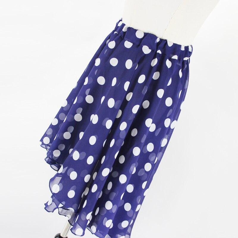 Jaderic 18 new arrival spring and summer big polka dot chiffon long irregular short skirt high waist skirts 2