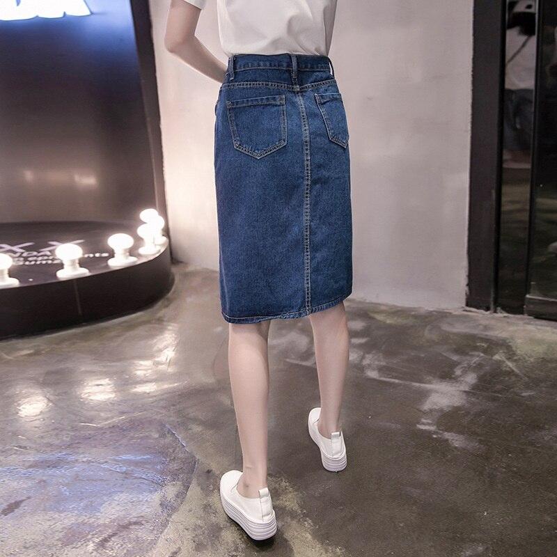 New Summer Women Skirt Fashion Vestido Plus Size Solid Pockets Single-Breasted Jeans Skirt For Women Large Size Denim Midiskirt 2