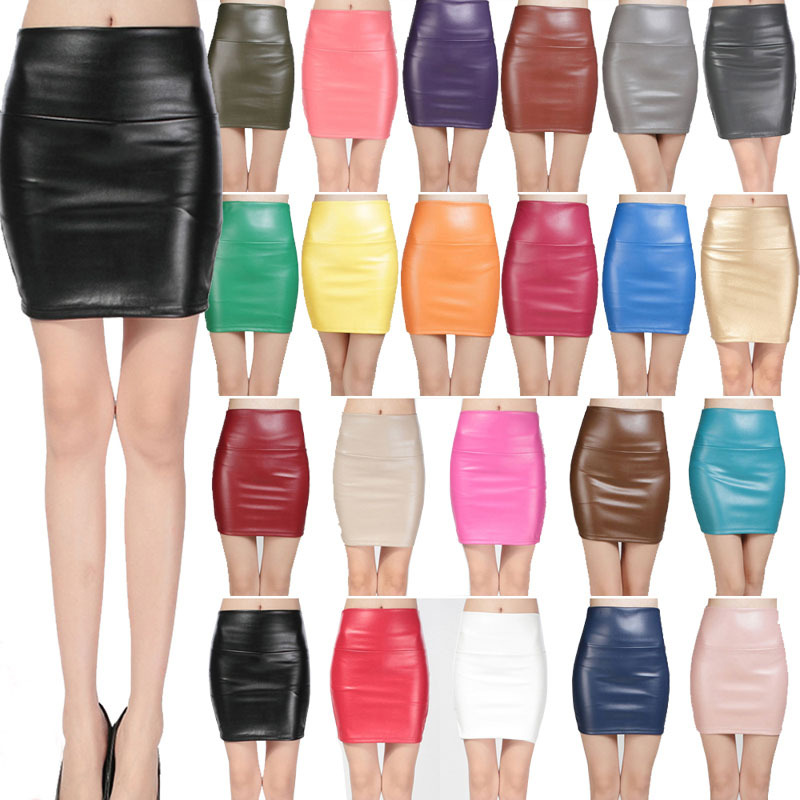 19 New fashion Women faux pu Leather skirt high waist party clothing female short pencil woman skirts saias femininas 2