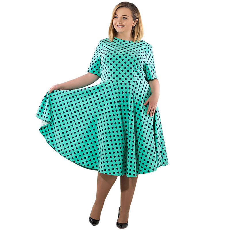 18 Women Summer Casual Dress Loose Knee Length Dresses Elegant Dots Printed Plus Size O-Neck High Waist Half Sleeve Dresses 1
