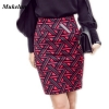 Womens Long Pencil Skirt Knee Length Fashion Summer OL Sexy Elegant Plaid Plus Size Formal Work Office Printed Skirts Female