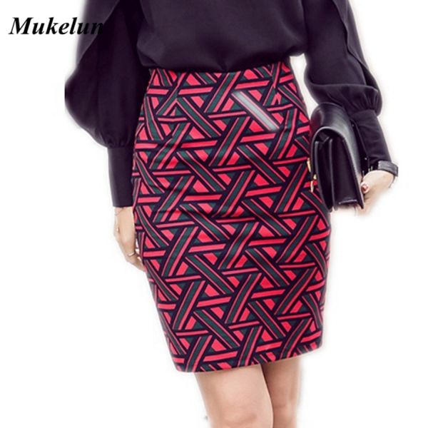Womens Long Pencil Skirt Knee Length Fashion Summer OL Sexy Elegant Plaid Plus Size Formal Work Office Printed Skirts Female