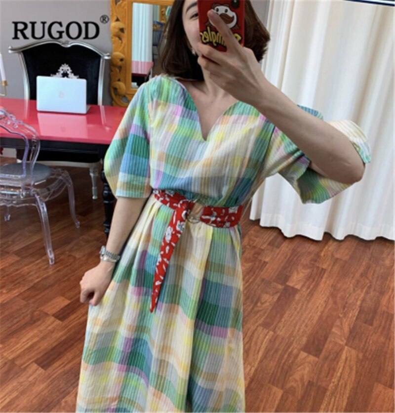 RUGOD 19 New Arrival Women Colorful Dress V-neck Half Sleeves Loose Straight Vintage With Sash Constrast Colors Vintage Mujer 3